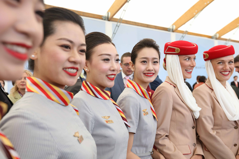Hainan Airlines and Emirates crew