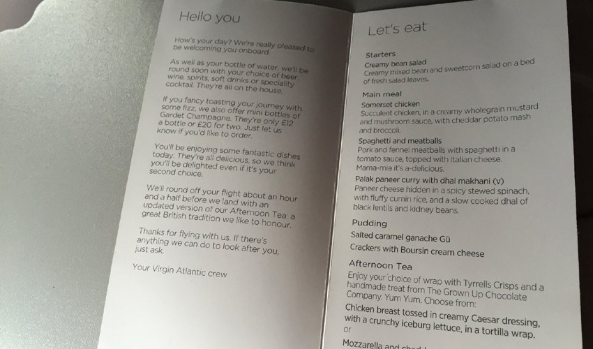 Virgin Atlantic menu