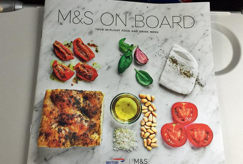 British Airways buy onboard menu