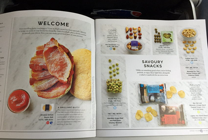 British Airways buy onboard menu
